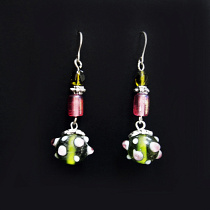 Handmade glass beads in a sweet Spring-time palette with silver accents