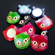 Leather Kitty Mirrors handmade in India from natural, painted leather