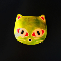 Kitty coin purse with snap closure, handmade in India from colorfully painted leather