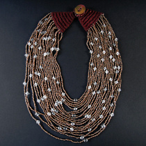 Bronze Starry Night multistrand necklace with antique coin closure