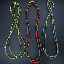 Gaia Necklaces with glass and brass beads, handmade in India