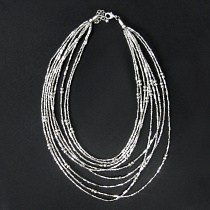 Moonbeam beaded multistrand necklace handmade in India with silver tone brass beads