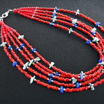 Desert Journey beaded multistrand necklace in rich complimentary colors