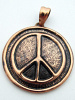 Pure copper amulet pendant featuring the Peace symbol