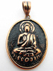 Pure copper amulet pendant with the Buddha sitting in meditation