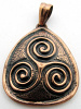 Pure copper amulet pendant with Triple Spiral design