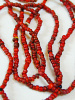 small red white-heart Venetian glass beads from the 1900's