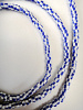 Blue and White Striped Small African Trade Bead Strand