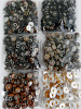 Showing range of 100-pack boot buttons - Multi-color, Brown, Chestnut, Charcoal, Khaki, White & Gold-tone