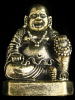 Seated Hotei Buddha brass deity statue