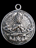 Tibetan Buddha brass deity pendant, sitting in meditation with hands over heart
