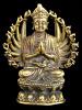 Thousand-armed Avalokiteshvara brass deity statue, the bodhisattva of compassion and mercy