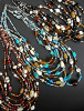 Glass and agate multi-strand Malala Necklaces, available to mix and match in blue, red and black tones.