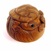 handcarved boxwood turtle button