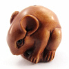 handcarved boxwood ojime bead of mouse