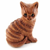 handcarved boxwood ojime bead of kitty