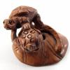 handcarved boxwood ojime bead of turtle
