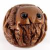 handcarved boxwood ojime bead of owl ball