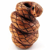 handcarved boxwood ojime bead of snake coiled