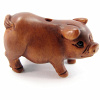 handcarved boxwood ojime bead of pig