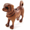 handcarved boxwood ojime bead of standing dog
