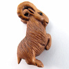 handcarved boxwood ojime bead of mountain goat