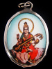 Saraswati enamel deity pendant, the Goddess of Knowledge and Music, seated and playing her instrument