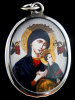 The Madonna and Baby Jesus enamel deity pendant, flanked by two angels