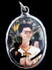 """Frida Kahlo enamel deity pendant based on her painting """"Self-Portrait with Monkeys"""""""