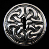 front view of sterling silver repouse slotted-bead with Celtic knot design