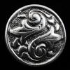 front view of sterling silver repouse shank-button with fleur de lis design