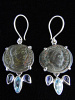 Sterling silver earrings featuring ancient Roman coins with iolite and topaz accent stones