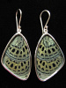 Large Sage Green (Callithea Philotima) Shimmerwing earrings with butterfly set in sterling silver