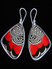 "Large ""88"" (Diaethria neglecta) Shimmerwing earrings with butterfly set in sterli"