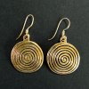 Sacred Spiral Brass Earrings in gold-tone brass with vermeil earwires