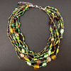 Forest Dweller multistrand beaded necklace with adjustable chain in back