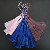 Long rayon tassels with loop, available in packs of 10