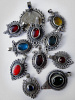 Assortment of ten vintage Tribal Gypsy Glass Pendants from Afghanistan