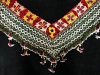 Traditional 'V' shaped embroidered Saye Gosha textile with beaded fringe from Central Asia