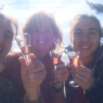 Tika girls, making a champagne toast to celebrate the new website