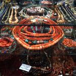 antique beads and jewelry on display
