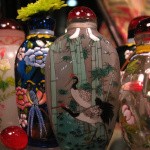 painted glass bottles on display