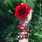 Treasure Chest Bracelets being worn out in the garden