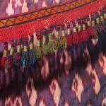 closeup detail of textiles on display