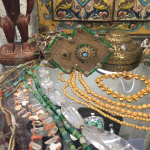 ancient beads and antique jewelry on display