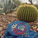 Tika jewelry on display in the Tucson desert