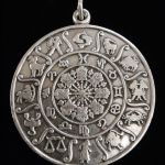 Zodiac sacred symbol pendant in white brass