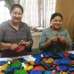 Nepalese Fair Trade partners making Silk Sari Drawstring Pouches