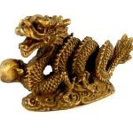 brass new years dragon statuette