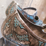 silver enameled shoes made in Kashmir in the 1920's